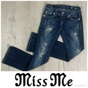 MISS ME Signature Slim Boot Distressed Jeans sz 24